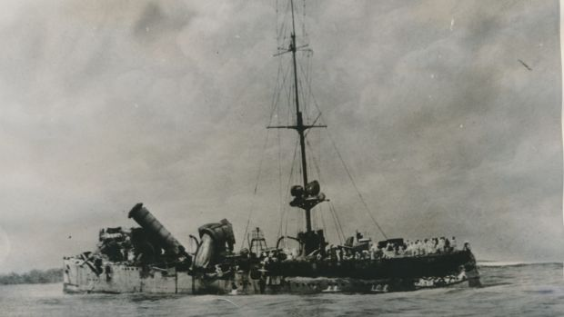 A broadside view of the wrecked German raider Emden after her encounter with HMAS Sydney near Cocos Island.