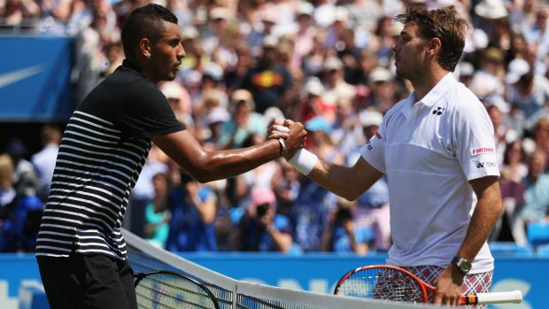 Nick Kyrgios and Stan Wawrinka shake hands in happier days.