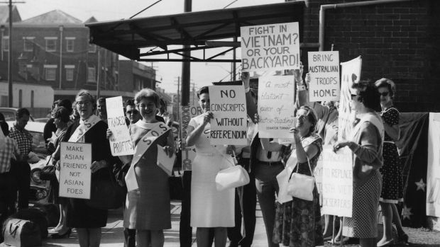 A women's anti-conscription demonstration at Marrickville army depot on April 20, 1966.