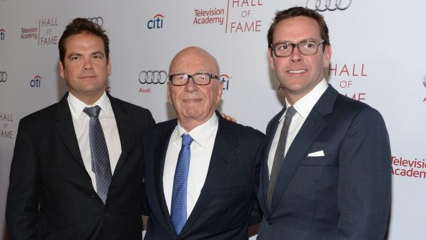 Fox chief executive James Murdoch, right, with his brother Lachlan and father Rupert.