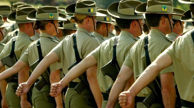 A graduating ceremony of Army Reserve Officers at Royal Millitary Collage Duntroon in Canberra.