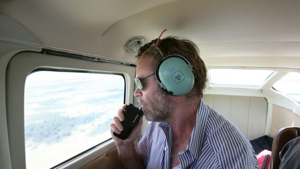 Richard Kingsford flies over the Macquarie Marshes in NSW in 2008.