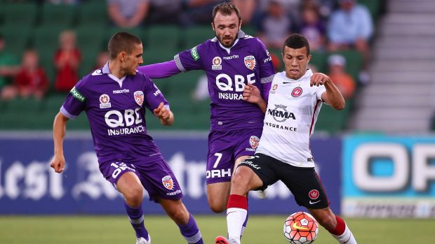First of his kind: Wanderers local Jaushua Sotirio struts his stuff against Perth Glory.