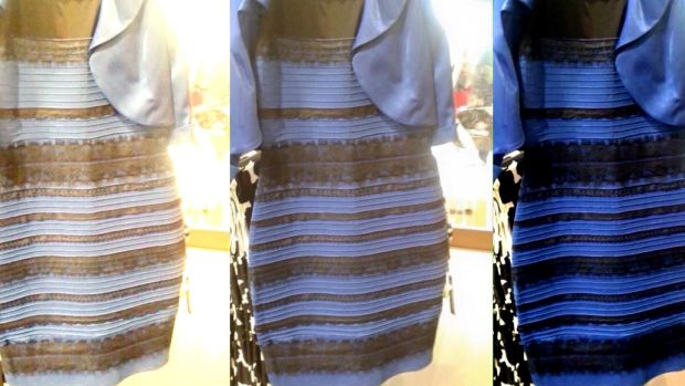 The dress that changed colour. The original image is in the middle. At left, white-balanced as if the dress is ...