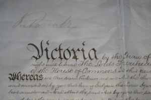 The Royal Commission of Assent signed by Queen Victoria on 9 July 1900 made Australia's constitution law. Her faded ...