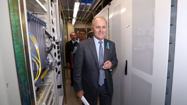 Malcolm Turnbull tours the NBN racks in the Queanbeyan Telstra exchange earlier this year.