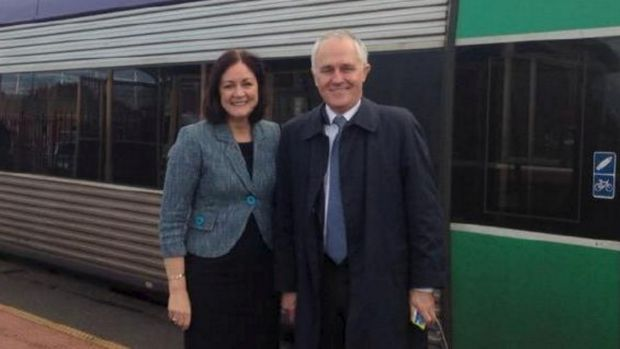 Prime Minister Malcolm Turnbull with Liberal MP Sarah Henderson, whose Victorian electorate of Corangamite is being targeted.