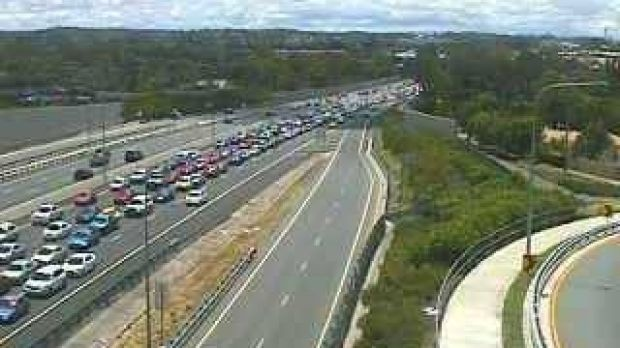 Congestion on the Pacific Motorway on Christmas Day.