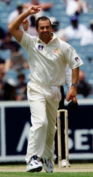 Colin Miller gets the wicket of Ridley Jacobs in 2000.