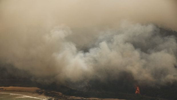 Fires burning near Wye River and Separation Creek on Christmas Day.