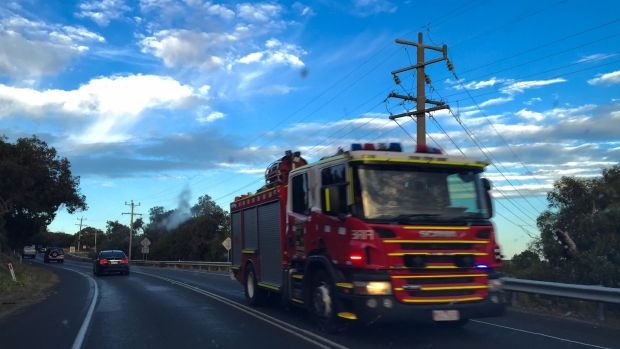 Fire trucks heading towards Lorne.