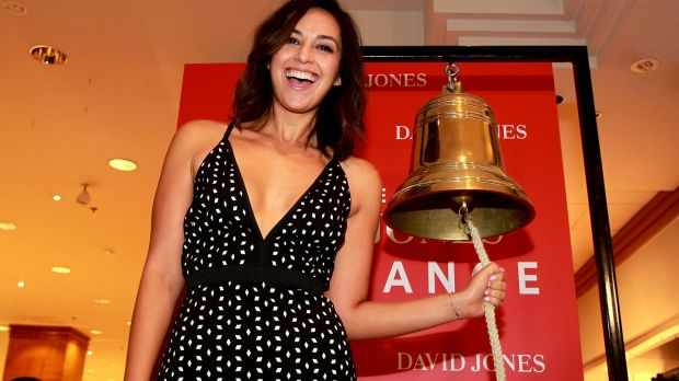 Zoe Marshall rings the bell to open the David Jones sale at Parramatta.
