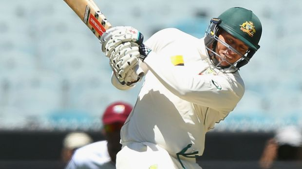 On song: Usman Khawaja during the second Test against the West Indies in December.