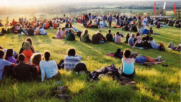 Festival goers relax at a previous Woodford Folk Festival.