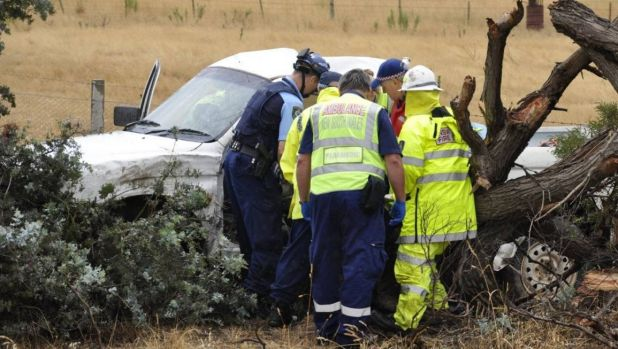 Emergency services cut a man from the ute but he was not believed to be seriously injured.