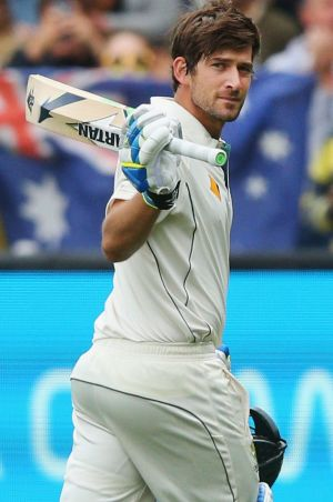 Joe Burns of Australia walks off after making 128 during day one of the Second Test match between Australia and the West ...