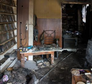 The inside of the Auburn video store that damaged by a fire.