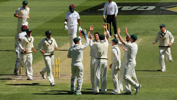 James Pattinson is congratulated after getting the wicket of Marlon Samuels on day two of the Second Test match between ...