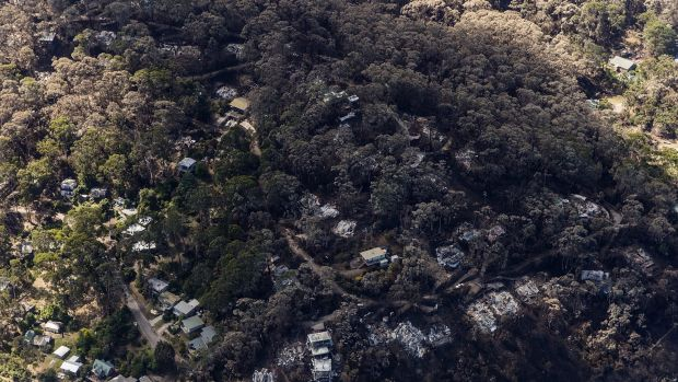 Fire damage to property seen from the air at Wye River.