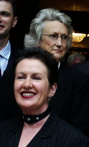 Robyn Kemmis (rear) with Clover Moore when she was elected a councillor in 2004.