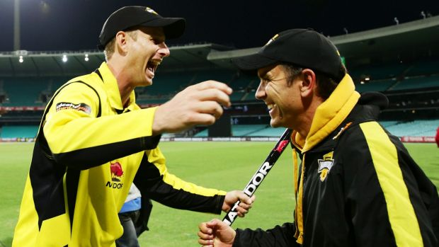 Next man up: Justin Langer, right, celebrates winning the Matador Cup with Adam Voges.
