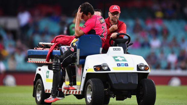 Gutted: Moises Henriques is taken from the field with an injury.