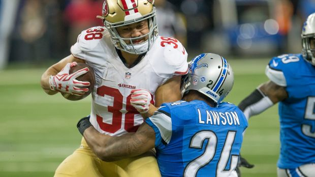 Back in business: Jarryd Hayne takes on the Lions defence.