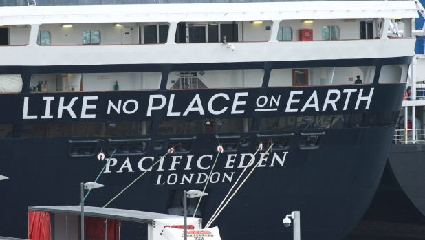 """Like no place on earth"": the Pacific Eden docked at Sydney's White Bay on Monday morning."