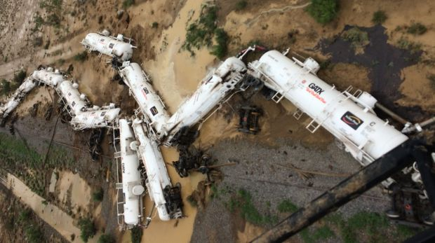 An Aurizon freight train lies beside the tracks after derailing at Julia Creek in Queensland.