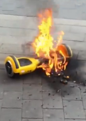 Hot wheels: a hoverboard on fire in the US.