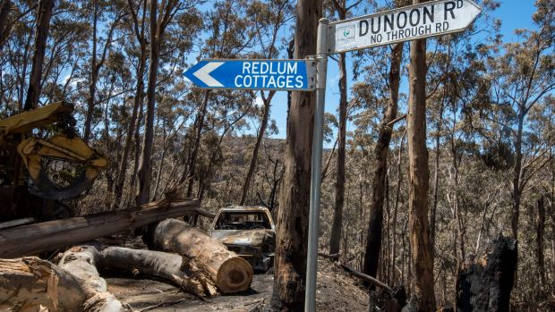 Devastation in Wye River where the Christmas Day fire raged.