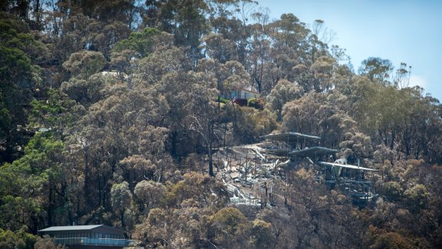Destroyed and saved homes side by side in Wye River after the Christmas Day fire.