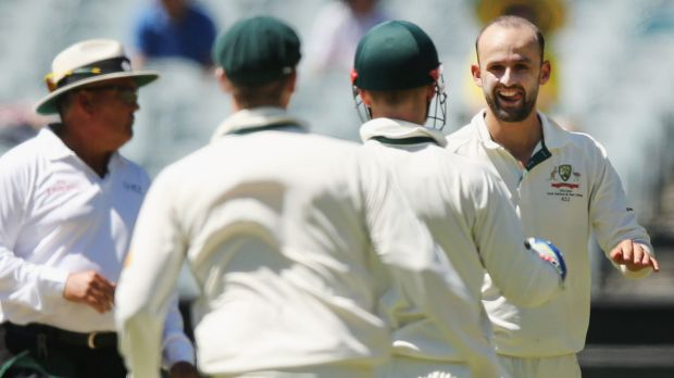 Nathan Lyon celebrates the wicket of Kraigg Brathwaite at the MCG last week.