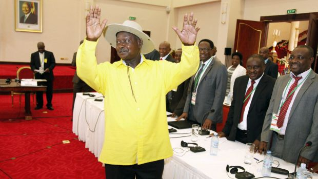 Ugandan President Yoweri Museveni, in yellow shirt, makes his presence felt at the peace talks this week. Burundian ...