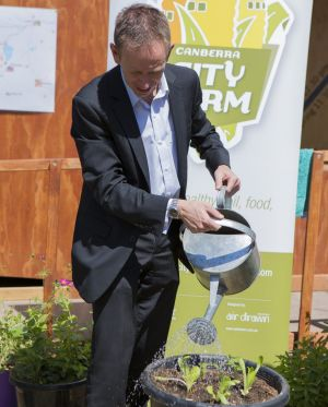 Shane Rattenbury at the newly opened Canberra City Farm in late 2014.