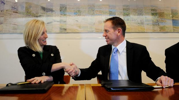 Katy Gallagher and Shane Rattenbury after signing the power-sharing agreement in 2012.