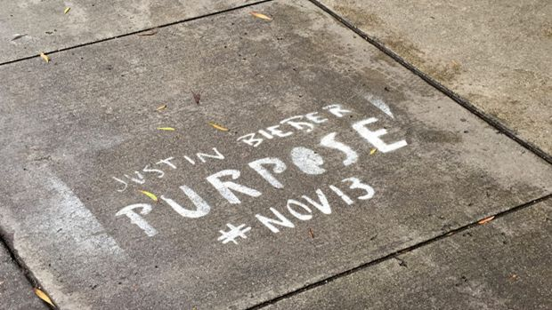 In trouble: a photo provided by the San Francisco City Attorney's office shows Justin Bieber graffiti.