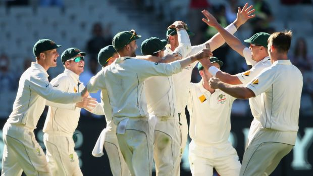 Victors: Australia celebrate the final wicket and winning the second Test against the West Indies.