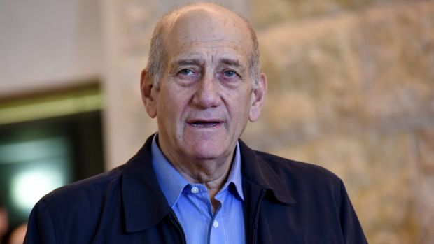 Former Israeli prime minister Ehud Olmert after the court reduced his sentence from six years to 18 months in prison in ...