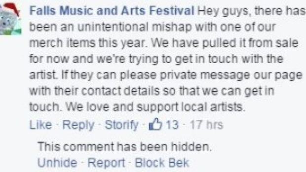 Melbourne designer Elena King has accused the Falls Music and Arts Festival of ripping off her design,The Moody