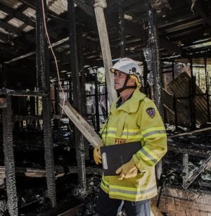 NSW Fire and Rescue inspector John Paull  at the scene of the fire.