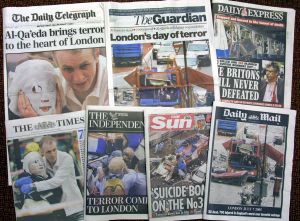 Front pages of Britain's national newspapers the day after the attacks of July 7, 2005.