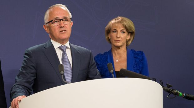 Prime Minister Malcolm Turnbull and Minister for Employment Michaelia Cash address the media after the release of the ...