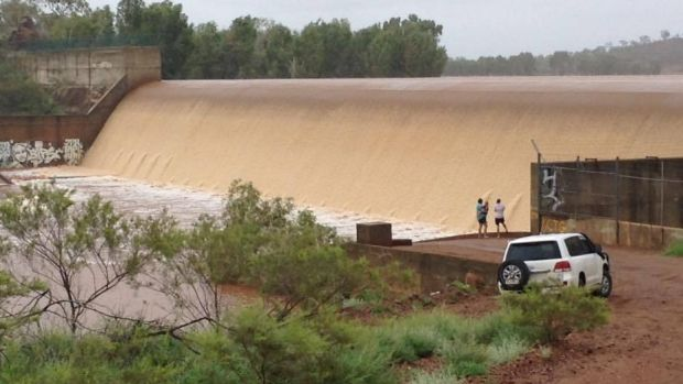 Flooding at Cloncurry dam.