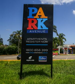 Advertising hoardings for apartments have gone up at Ermington Putt Putt.