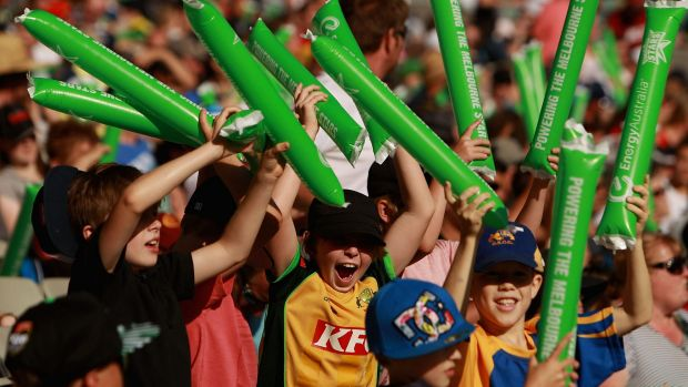 Turning up the volume: Fans show their support during a Big Bash League match between the Melbourne Stars and the ...