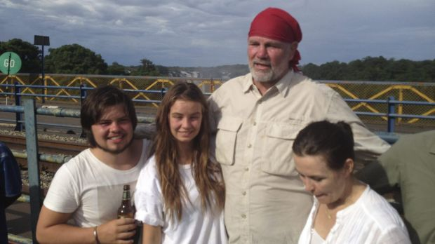 The author - nudging 150 kilograms - with son Jake, daughter Billi, and wife Lisa.