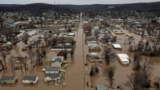 Flooded homes in Pacific, Missouri.