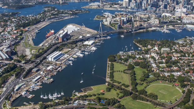 The Bays Precinct, where the government plans a high-tech hub as well as apartment development.