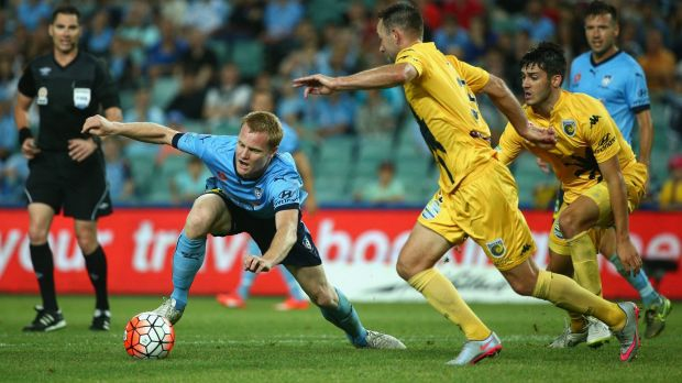 Matt Simon of Sydney FC controls the ball during the round 12 A-League match between Sydney FC and the Central Coast ...